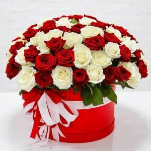 Коробка 51 роза микс R1246